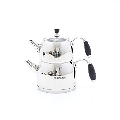 Korkmaz Flora Midi Capsulated Turkish Tea Pot Set With Tempered Glass Lid - .7 & 1.5 Quart