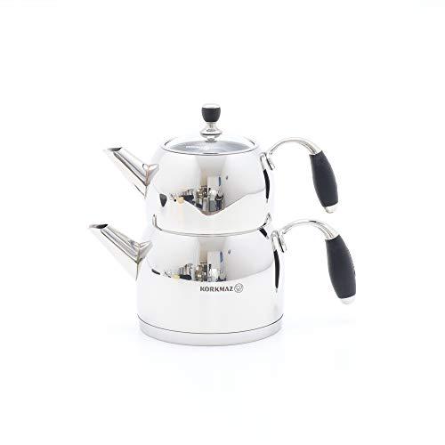 Korkmaz Flora Midi Tea Pot Set/Caydanlik Takim / A118 Teekocher, Edelstahl, Schwarz, 69 x 69 x 69 cm, 4-Einheiten