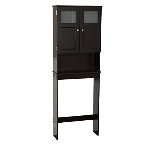 Zenna Home Over The Toilet Bathroom Spacesaver, Bathroom Storage with Glass Windows, Espresso
