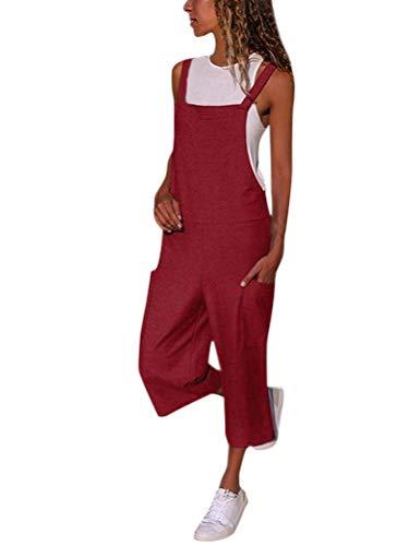 Minetom Langer Jumpsuit Damen Eleganter Sommer Overall Herbst Jogging Latzhosen Romper Playsuit Hosen Bequeme Lockere Lässige für Overall B Weinrot 34