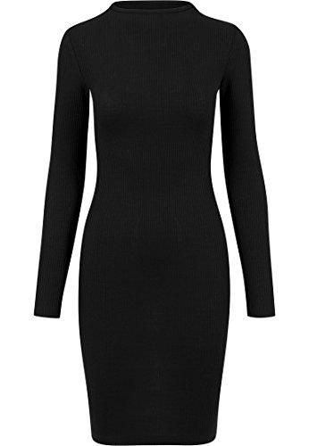 Urban Classics Damen Ladies Rib Dress Kleid, Schwarz (Black 7), 36 (Herstellergröße: S)
