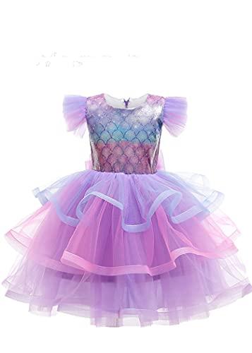 SLSCL El último Verano 2021 Fibra poliéster (poliéster) Linda niña Ropa para niños Vestido Princesa Sirena Vestido de tutú Tul Falda Larga