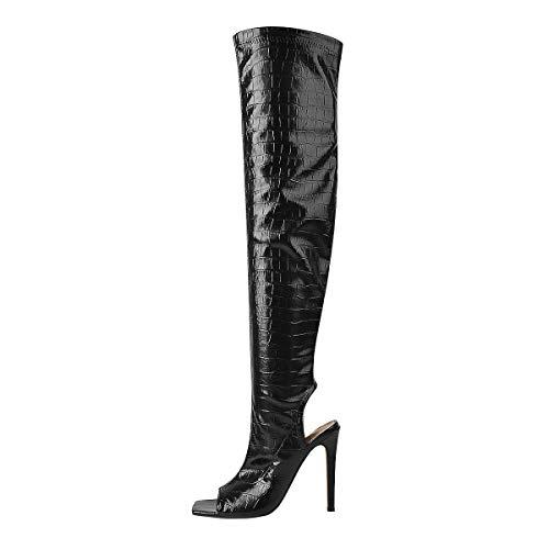 MissHeel Peep Toed Lang Boots Stilettos Square Toed High Heels Slingbacks Fashion Women's Shoes Black EU 39
