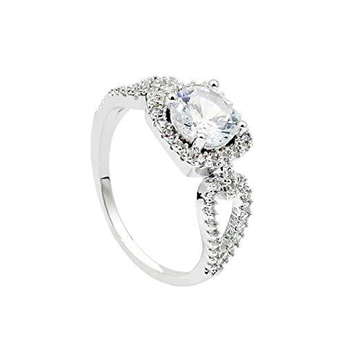 Anillo de dedo Benoon para nudillos, anillos de dedo cuadrado con incrustaciones de circonio cúbico para mujer, regalo de joyería - plata US 7