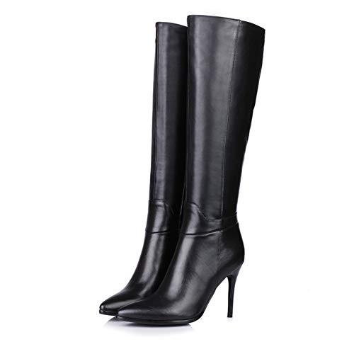 LHZHH Stiletto High Boots, Sexy, Damen KnielangeStiefel Mit Hohem Absatz Und Seitlichem Reißverschluss, Herbst- Und Winterlederstiefel (Color : Black, Size : 40 EU)