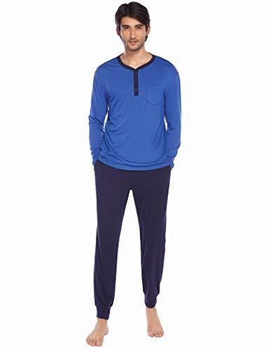 Ekouaer Schlafanzug Herren Lang Set Pyjama Langarm Zweiteiliger Nachtwäsche Schlafhose Oberteile mit Taschen für Männer Herbst Winter Zuhause Blau M
