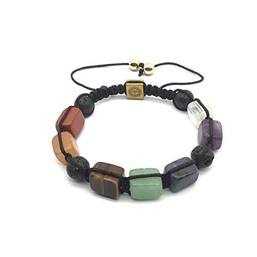 Pulsera de piedra de cristal natural para mujeres y hombres, ajustable macramé redondo lava roca perlas difusor de aceite esencial…