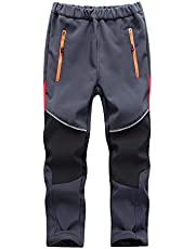 Toomett Boys Girls Kids Outdoor Fleece-Lined Soft Shell Hiking Fishing ski Pants Insulated Water and Wind-Resistant,1510,Black/Grey-S(4-5 Years)