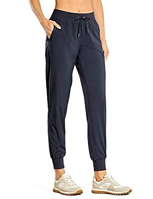CRZ YOGA Women's Lightweight Joggers Pants with Pockets Drawstring Workout Running Pants with Elastic Waist Navy Medium
