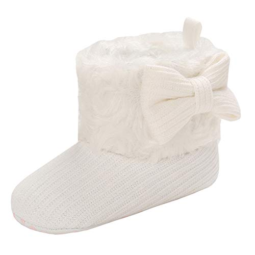 Annnowl Baby Snow Boots Knitted Crib Shoes (6-12 Months, White-Bow)