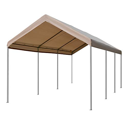 Outsunny 20' L x 10' W Heavy Duty Outdoor Carport Awning/Canopy with Weather-Fighting Material & Anchor Kit, Brown