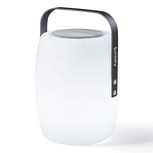 Lampe enceinte bluetooth sans fil poignée aluminium LED blanc/multicolore dimmable LUCY PLAY H31cm avec télécommande