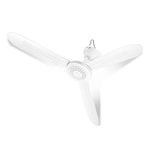 Ventilador de techo blanco, ventilador de techo silencioso para viento fuerte, aspa de ventilador de 3 aspas, diámetro de 105 cm, con cable de extensión de interruptor de 2 m/A / 105cm