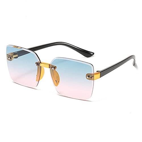 WQZYY&ASDCD Gafas de Sol Gafas De Sol Gradiente Sin Montura Color Caramelo Gafas-Verde