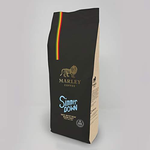 Entkoffeinierter Kaffee Ganze Bohne Bio Organic, Swiss Water Decaf, Marley Coffee, aus der Familie von Bob Marley, 1kg Kaffeebohnen