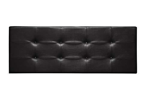 Cabecero de Cama tapizado en Polipiel y con Botones de Cristal. Altura 55cm. Color Negro. para Cama de 135 (Medidas 145x55x8) Pro Elite.