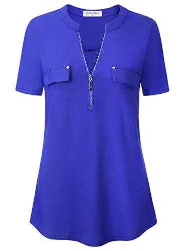 Bulotus Shirts for Women Plus Size Tunic Tops Short Sleeve Blue XL
