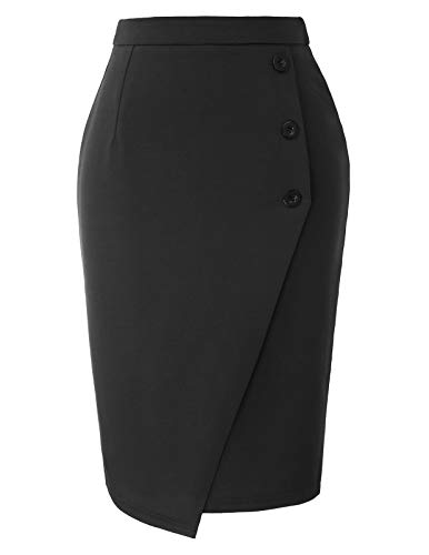 Women Button Midi Pencil Skirt Business Office Skirt Knee Length Black XL