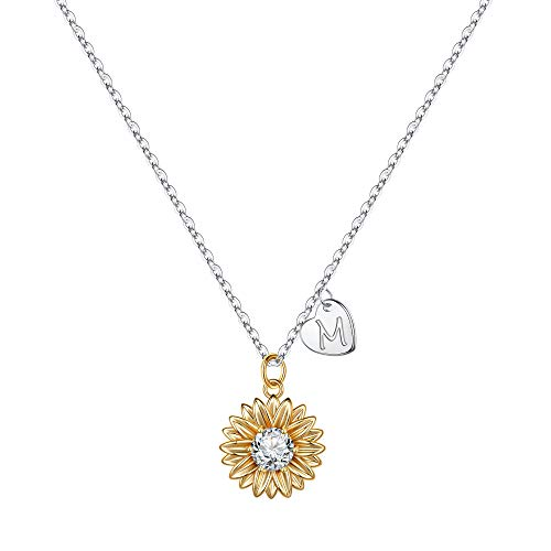 (50% OFF Coupon) Sunflower Necklace W/ Initial $6.50