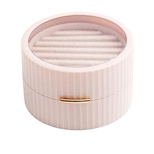 ALMAK Caja de almacenamiento de joyería de doble capa, mini collar de viaje, pendientes, anillo caja de almacenamiento con doble capa apilable regalos de cumpleaños para damas