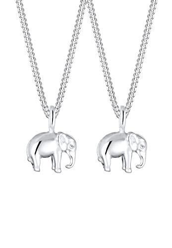 Elli Halskette Damen Elefant Anhänger für Mutter Kind in 925 Sterling Silber