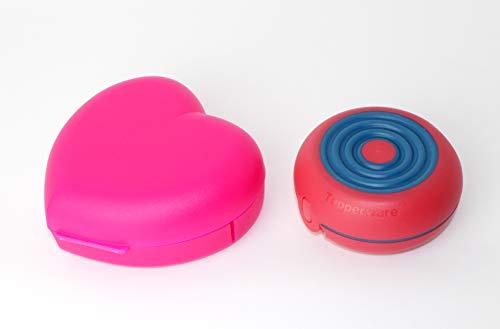 Tupperware Vesperbox Herz Dose Behälter Box Brotdose Neonpink+Flexi Twin erdbeerrot
