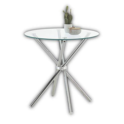 Stella Trading SPRINT Glas Esstisch rund mit Chromgestell - Stylisher Glastisch für Ihr Wohn- & Esszimmer - 80 x 80 x 77 cm (B/H/T)