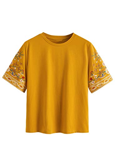 Romwe Women's Plus Size Casual Print Short Sleeve Crew Neck Solid Blouse Mustard Yellow 3X