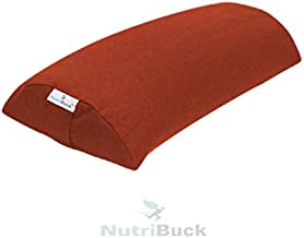 NutriBuck Half Moon Pillow Buckwheat Hull Bolster with Removable/Washable Cotton Cover for Reduced Stress on Spine, Neck Pain and Effective Support for Side and Back Sleepers | (Orange)