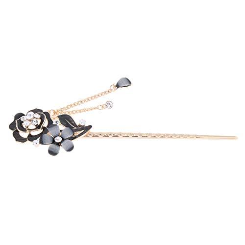 freneci Pin de Pelo Chino para Mujer con Broche de Diamantes de Imitación de Cristal con Borla - Estilo 1-Negro