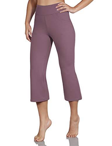 ODODOS Women's High Waist Boot Cut Yoga Capris, Tummy Control Bootleg Workout Capris with Slant Pockets, Lavender, Medium