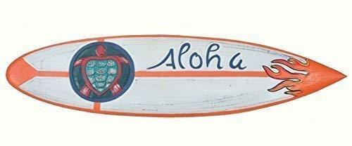 Interlifestyle Aloha Tabla de Surf con Tortuga Decoración Tabla de Surf 100cm Hawai Letrero de Madera
