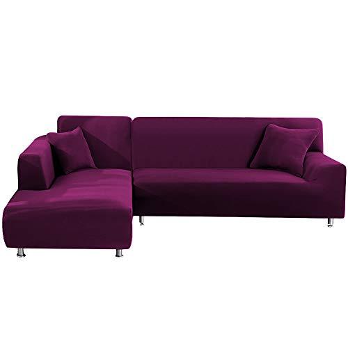 SUSSURRO Sofa Überwürfe Sofabezug Elastische Stretch für L-Form Sofa Abdeckung für 3 Sitzer + 3 Sitzer mit 2 Stücke Kissenbezug, Sofabezge Sofa berzug Couch Bezug Sofaberwurf (Wein Rot)