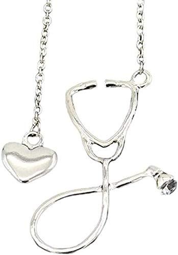 WYDSFWL Collar Enfermera Estetoscopio corazón Collar joyería enfermería Medicina terminar Regalo Collar