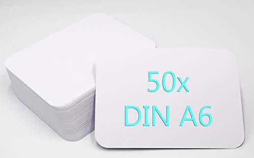 50er Pack DIN A6 Postkarten Karteikarten Set Blanko weiß zum Selbstgestalten mit runden Ecken
