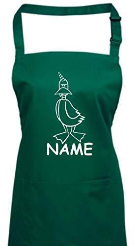 Shirtstown Tablier de Cuisine Drôle Animaux Nom de la Demande Einhornente,Licorne,Canard - Vert Bouteille, 72 cm x 86 cm