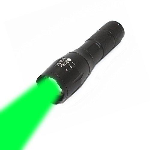 KC Fire LED-Taschenlampe mit 5 Modi, Zoomfunktions-Linse, 1000 Lumen Strahler, Handlampe, Laterne für Wandern, Jagd, Angeln, Reisen, Camping, grünes Licht