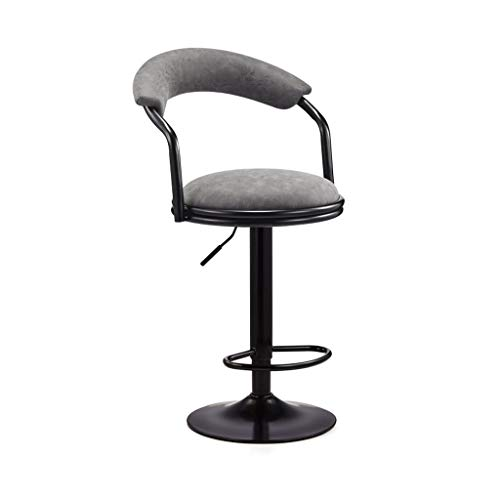 WDX- Bar Chair Rotating Chair High Stool Modern Minimalist Bar Chair Back Home Chair Bar Chair fashion (Color : Gray)