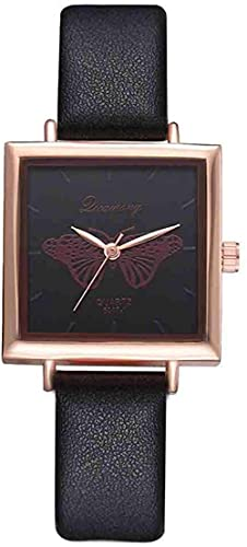 JZDH Mano Reloj Wristwatch Square Butterfly Watch Female Horloges Vrouwen Women Watch Reloj de Cuero Analógico Cuarzo Reloj de Lujo Casual Business Relojes Decorativos Casuales (Color : Negro)