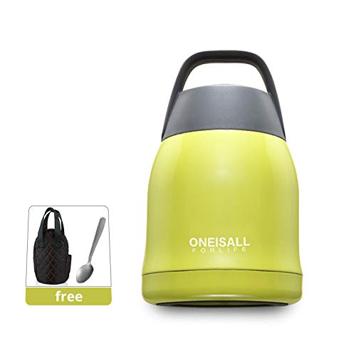 ONEISALL Food Flask Lunch Box, Double Wall Stainless Steel Vacuum Insulated Food Jar Food/Soup Container with Spoon and Carry Bag, 600ML/21oz (Green)
