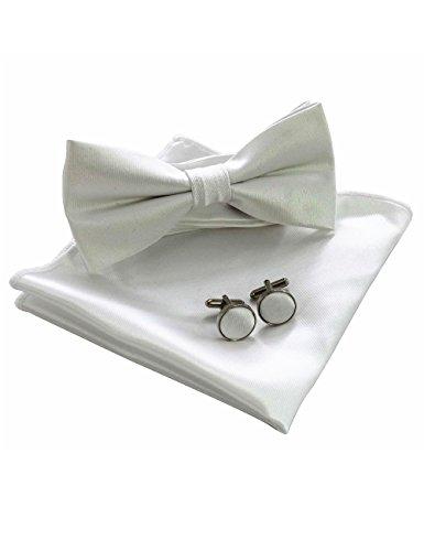 JEMYGINS Weiß Fliege Einstecktuch Sets für Herren seide Hochzeit Einfarbig Bunt Party(7)