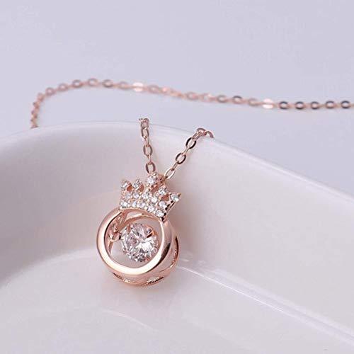 Pingente de coroa feminino, colar com pingente de coroa de zircônia para filha, mãe, esposa, namorada, bom presente, Ouro rosa, M