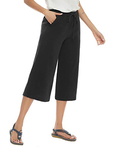 Akalnny Donna Cropped Pantaloni 3/4 Lunghezza Elastico in Vita Pants Larghi Estivi Casual Pantalone in Lino(Nero, XXL)