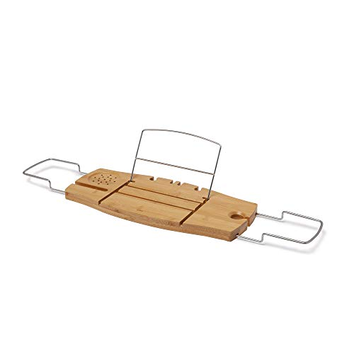 Umbra Aquala, Bamboo and Chrome Extendable Bathtub Tray Caddy, Natural
