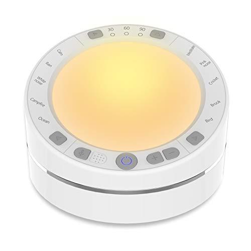 White Noise Machine, Einschlafhilfe Weißes Rausche Maschine, 10 Natürliche Beruhigender Geräuschen, Sound-Therapie Baby/Erwachsene Timer Funktionen Tragbarer für Zuhause Büro