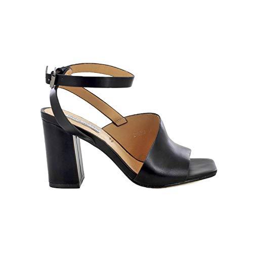 QUEEN HELENA Sandali con Tacco Donna Cinturino alla Caviglia Scarpe Eleganti Punta Aperta ZM6060 (39,Nero)
