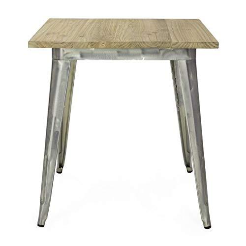 Vintahome Tisch im Tolix-Stil aus Holz, Klar verzinkt