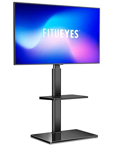 FITUEYES Meuble TV Pied avec 2 Étagères Support Pivotant pour Téléviseur de 32 à 60 Pouce Ecran LED LCD Plasma - Pivotant à 70 Degrés - Réglable en Hauteur - Gestion des câble - VESA Max 600 x 400 mm