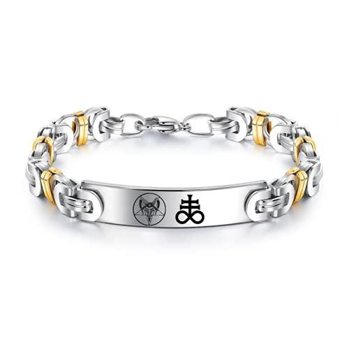ForeverWill Pulsera de acero inoxidable con símbolo satánico, símbolo de baphomet cabra, pentagrama invertido espiritual satanás Leviatán cruz bizantina pulseras de cadena para hombres y mujeres
