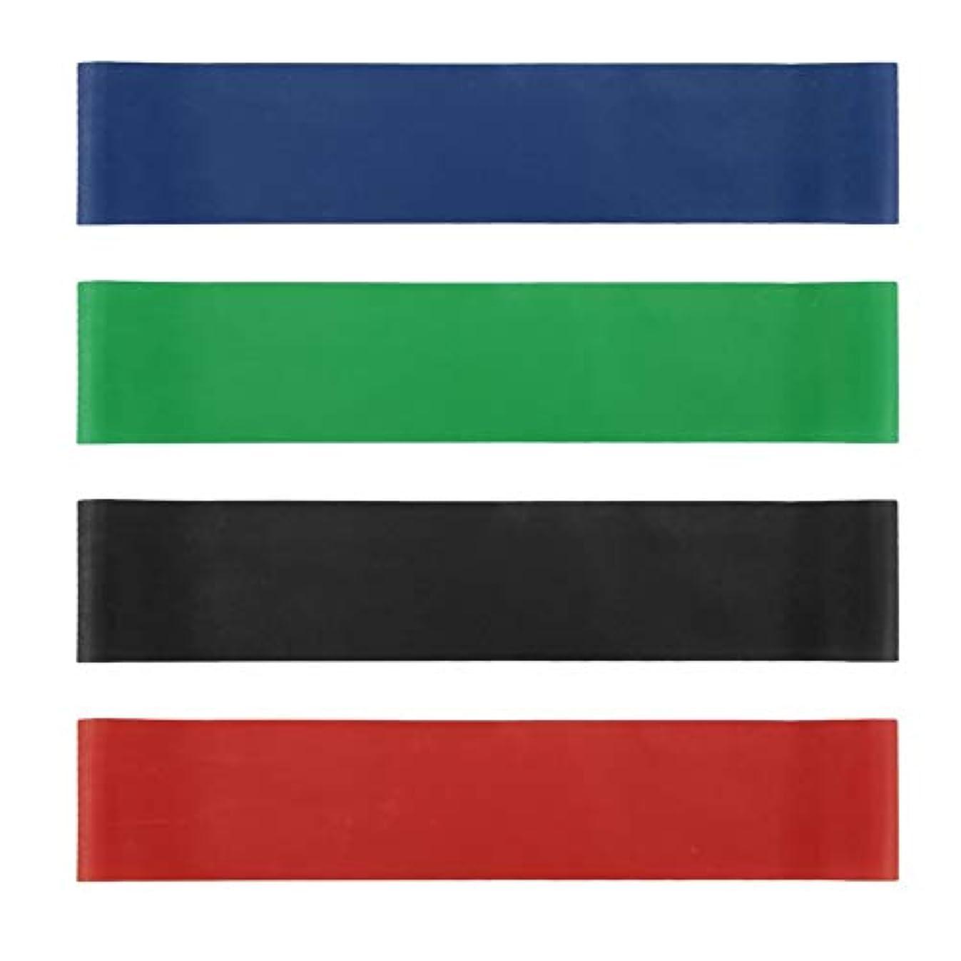 初心者冷蔵する知る4本の伸縮性ゴム弾性ヨガベルトバンドプルロープ張力抵抗バンドループ強度のフィットネスヨガツール - レッド&ブルー&グリーン&ブラック